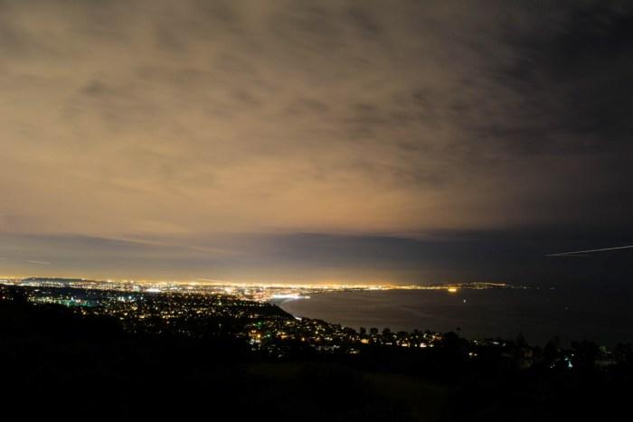 Santa Monica lights up at night