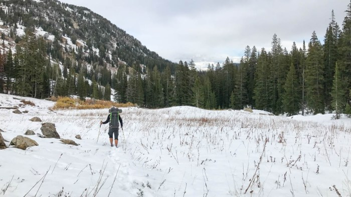 Hiking through the snow in Granite Canyon