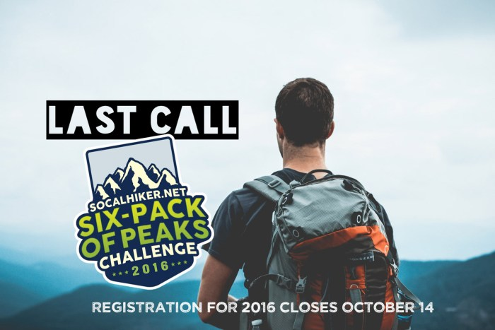 Last chance to register for the 2016 Six-Pack of Peaks Challenge