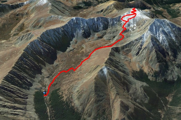 The trail up Grays Peak
