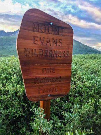 Sign marking Mt Evans Wilderness