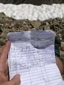 Summit Register at Birthday Peak
