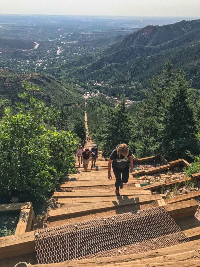 Looking down Manitou Incline from the bail-out point