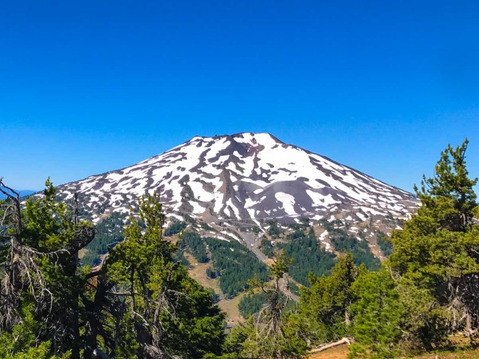 Front seat view of Mount Bachelor