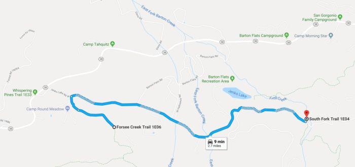 South Fork trailhead to Forsee Creek Trailhead