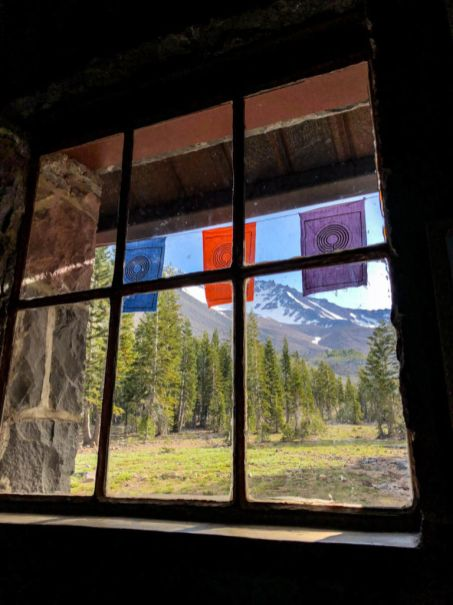 Looking up at Mount Shasta from inside the lodge