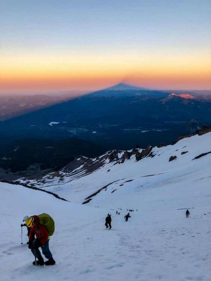 Shadow of Mt Shasta at sunrise from Avalanche Gulch