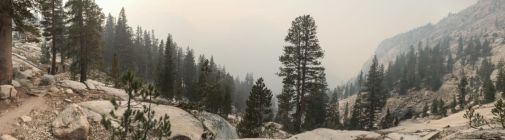 Smoky skies on our way into Goddard Canyon
