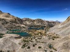 Looking back down at Bishop and Saddlerock Lakes
