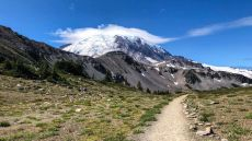 Looking back at Mount Rainier
