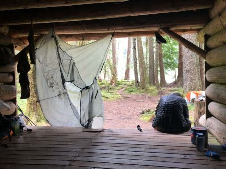 Attempting to dry out at South Mowich River Camp