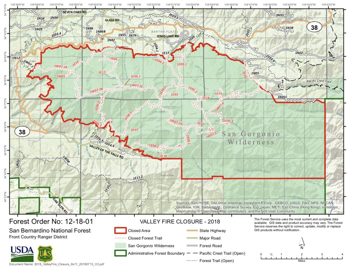 The Valley Fire forced the closure of the San Gorgonio Wilderness