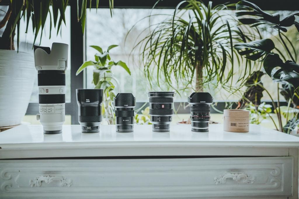 fototoestel kopen 70-200mm, 85mm, 55mm, 35mm, 14mm en een setje Gobe filters