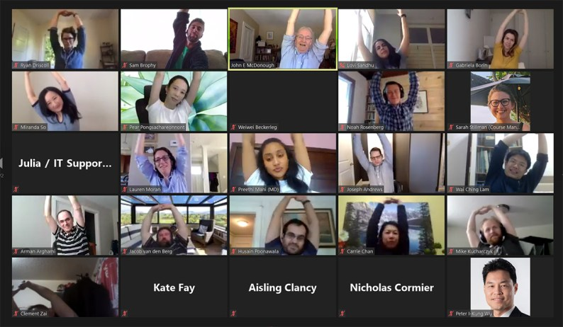 Group of students and faculty on zoom doing stretches