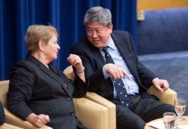Gro Harlem Brundtland, MPH '65, former Prime Minister of Norway and former Director-General of the World Health Organization; Pradit Sintavanarong, MPH '89, Minister of Public Health of Thailand.