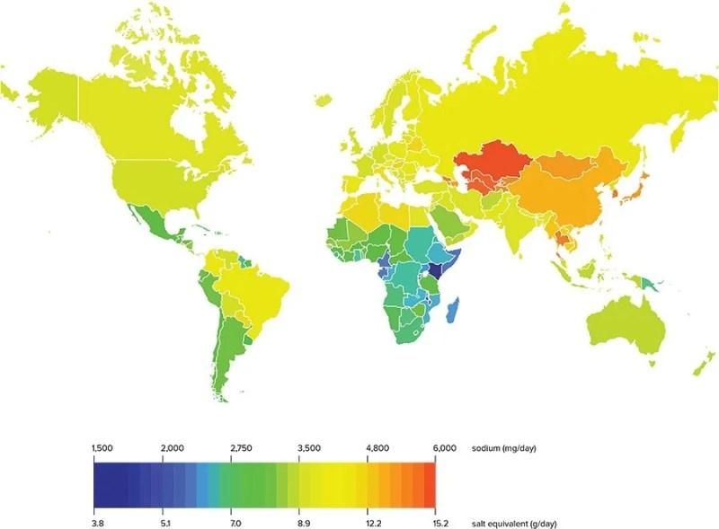 Salt intake world map