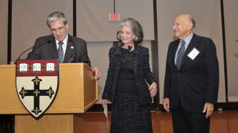 Dean Julio Frenk with Volunteer Leadership Award recepients Deeda Blair and Maurice Tempelsman