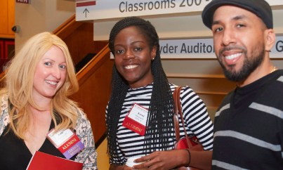 Beth Fischgrund, MPH '14; Kemi Okunade, MPH '16; Eugenio Fernandez, MPH '16