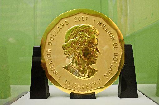 Der Diebstahl der größten Goldmünze der Welt ist aufgeklärt. Die hundert Kilo schwere Big Maple Leaf bleibt verschwunden. Foto: dpa