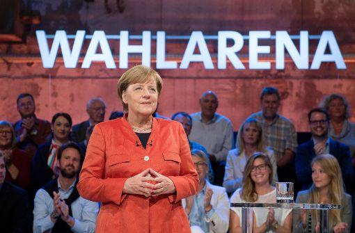 """Kanzlerin Angela Merkel in der ARD-""""Wahlarena"""". Foto: dpa"""