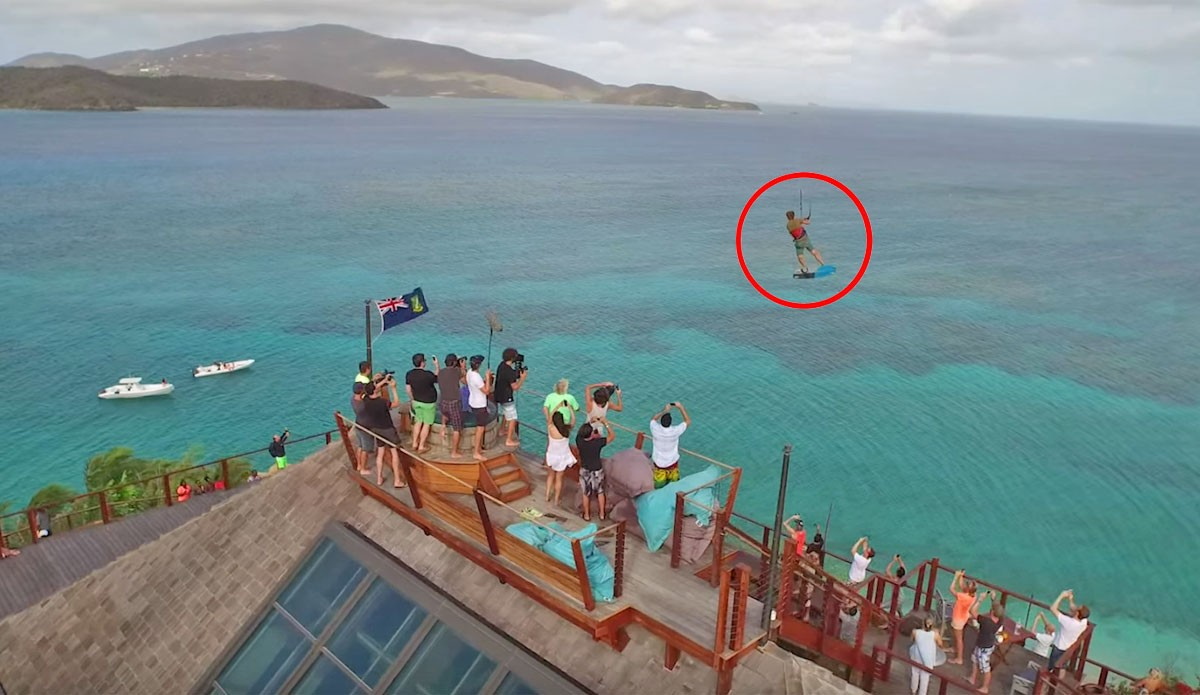 Kiteboarder Launches Possibly Biggest Air Ever Over Richard Bransons Private Island The Inertia