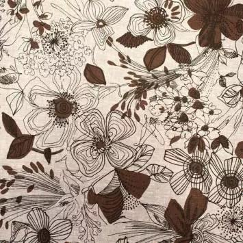 tissu coton lin gris motif grosses fleurs noires dessinees tissu coton lin gris motif grosses fleurs noires dessinees