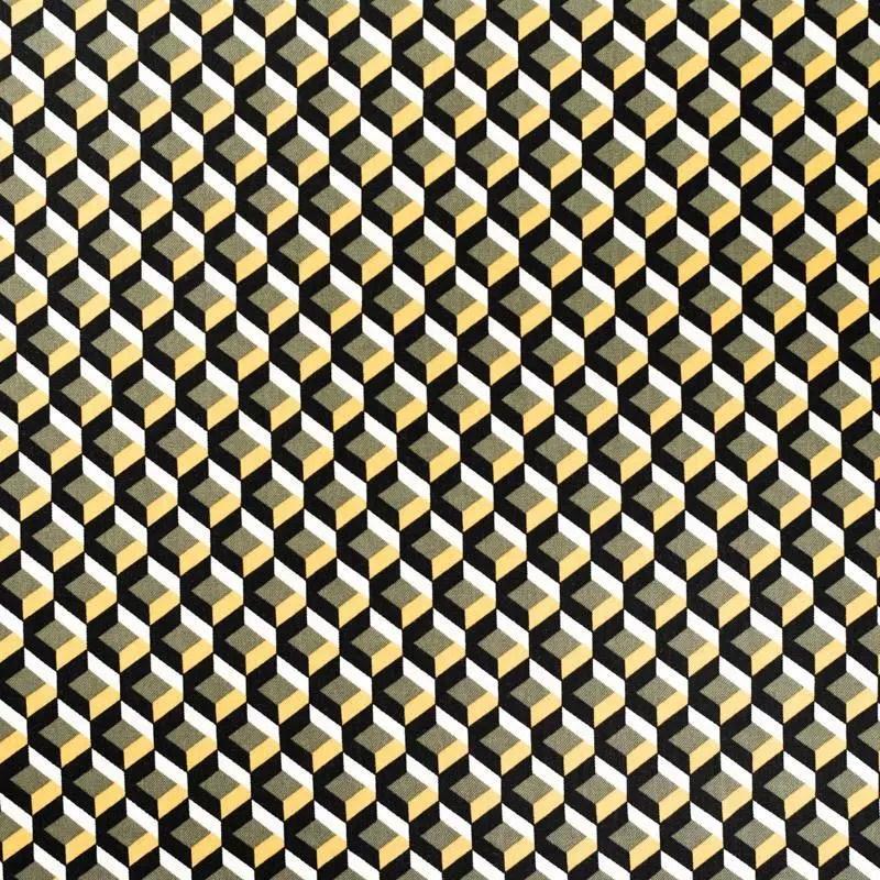 tissu viscose noir motif 3d geometrique vert et jaune