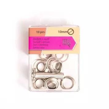 oeillets 10 mm avec outillage argente x10 oeillets 10 mm avec outillage argente x10