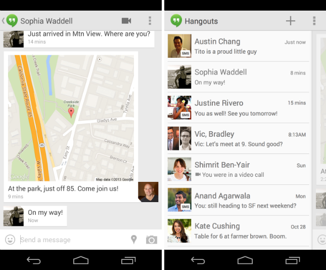 hangouts11 Google Hangouts for Android gets SMS integration, location sharing and support for animated GIFs