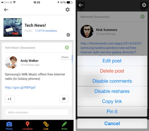 gplus1 Google+ for iOS gets Community post pinning, Whats Hot topics and granular location settings