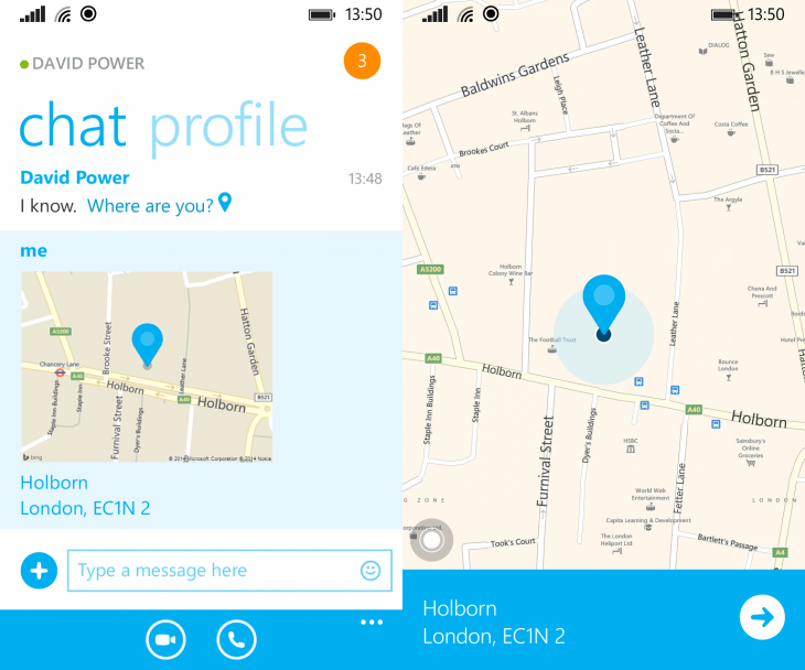 skype wp location 730x608 Skype for Windows Phone gets location sharing, picture saving, and notification controls for each conversation