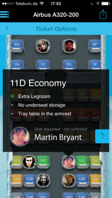 ios tn 7 220x390 Quicket can now show friends on the same flight from LinkedIn, Twitter and Google+