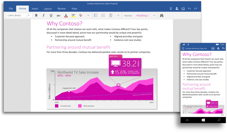 Word UI 1992x1172 730x429 Universal versions of Microsoft Word, PowerPoint and Excel are now available on the Windows 10 Technical Preview