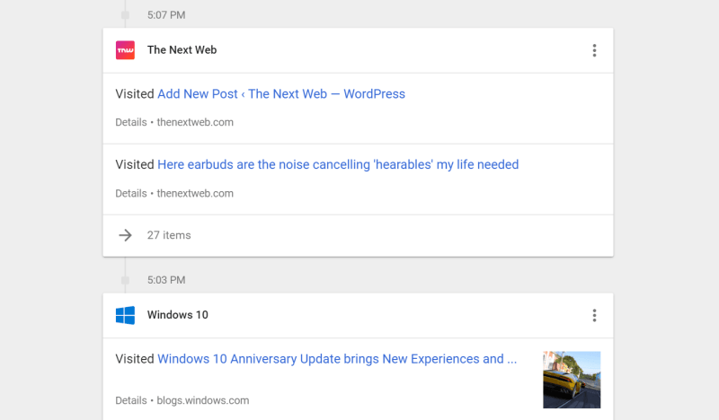 The My Activity page shows your life across various Google services