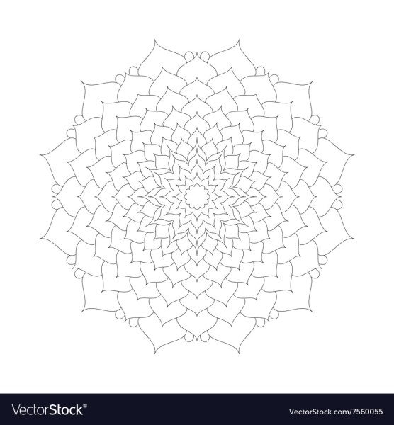 Adult Coloring Book Pattern Mandala Lotus Flower Vector Image