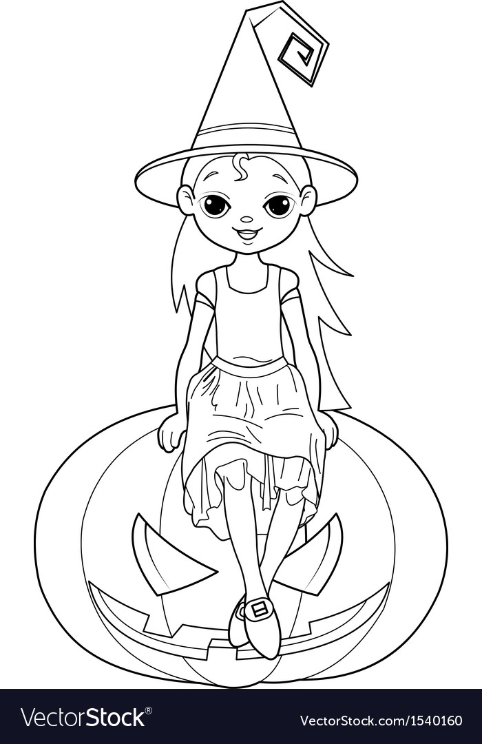Little Halloween Witch Coloring Page Royalty Free Vector