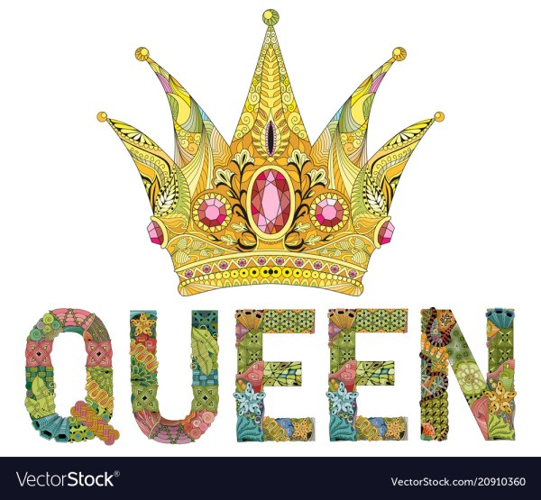 Zentangle stylized crown with word queen hand Vector Image