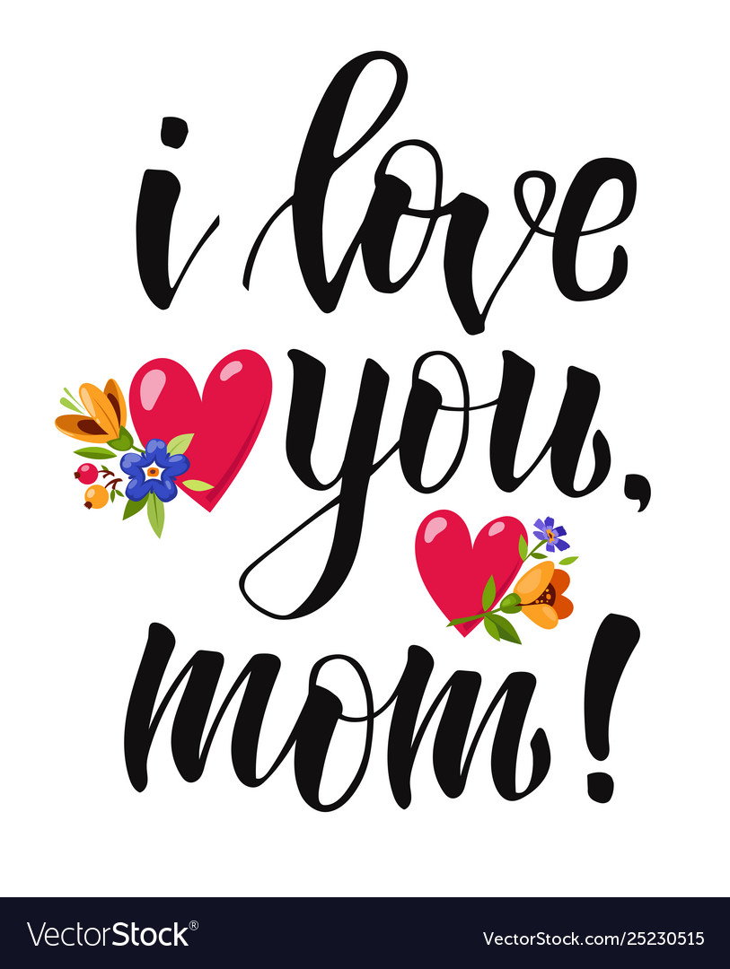 Download Poster with lettering i love you mom Royalty Free Vector