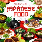 Japanese Cuisine Seafood Fish Meat And Soup Vector Image