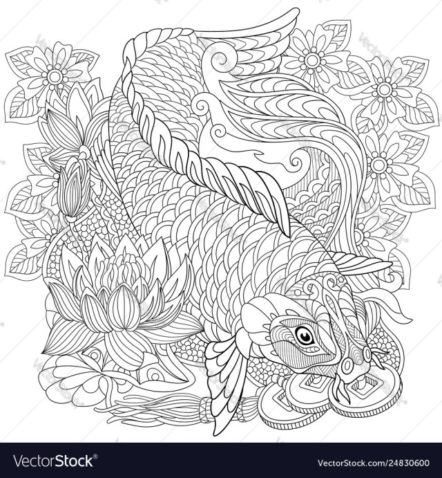 Koi carp adult coloring page Royalty Free Vector Image