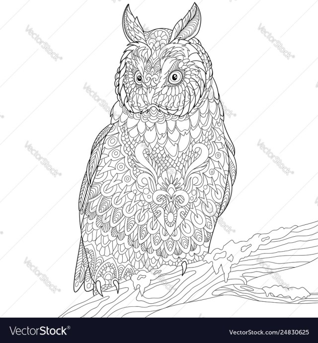 Owl adult coloring page Royalty Free Vector Image