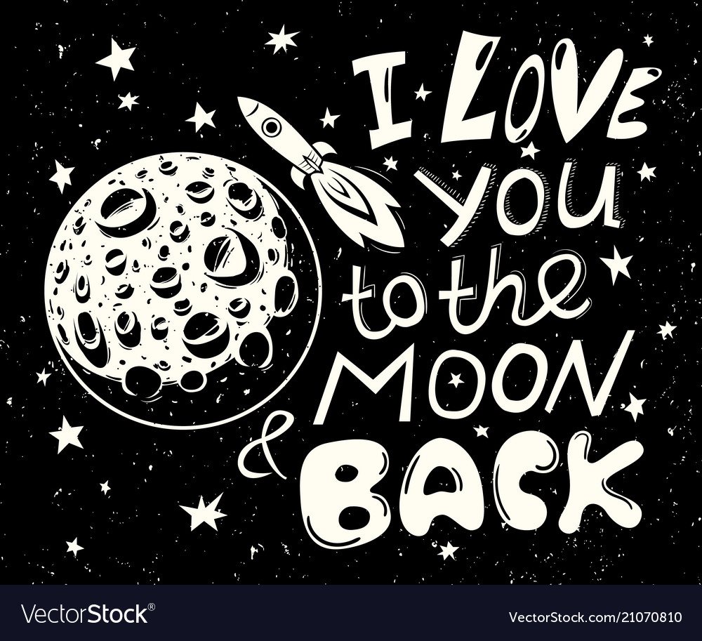 Download I love you to the moon and back poster Royalty Free Vector