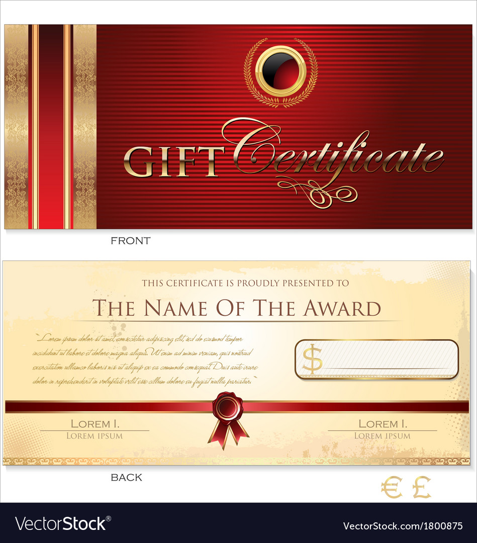 Red Gift Certificate Template Royalty Free Vector Image Red Gift Certificate Template vector image