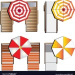 Outdoor Furniture Sunbeds Set Top View Set 9 Vector Image