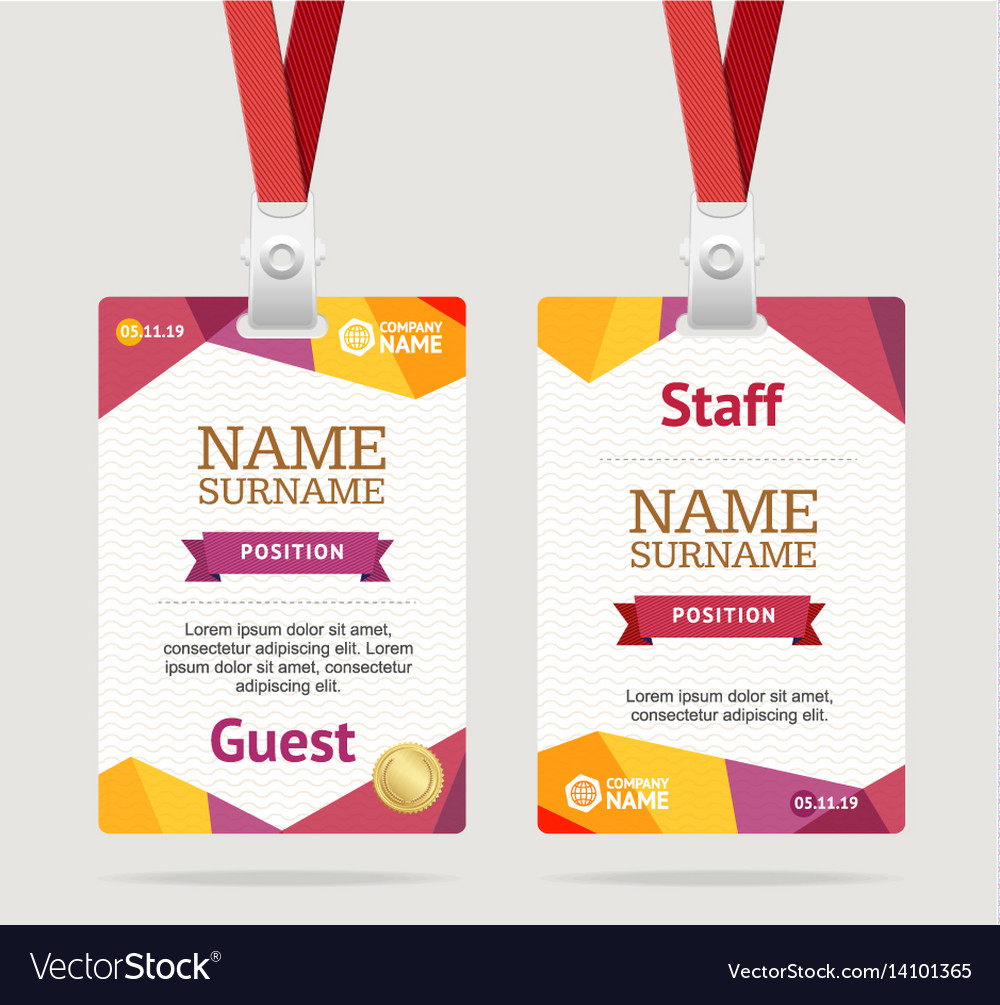 Browse through our creative designs and. Id Card Template Plastic Badge Royalty Free Vector Image