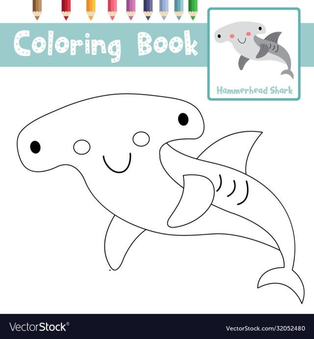 Coloring page hammerhead shark animal cartoon Vector Image