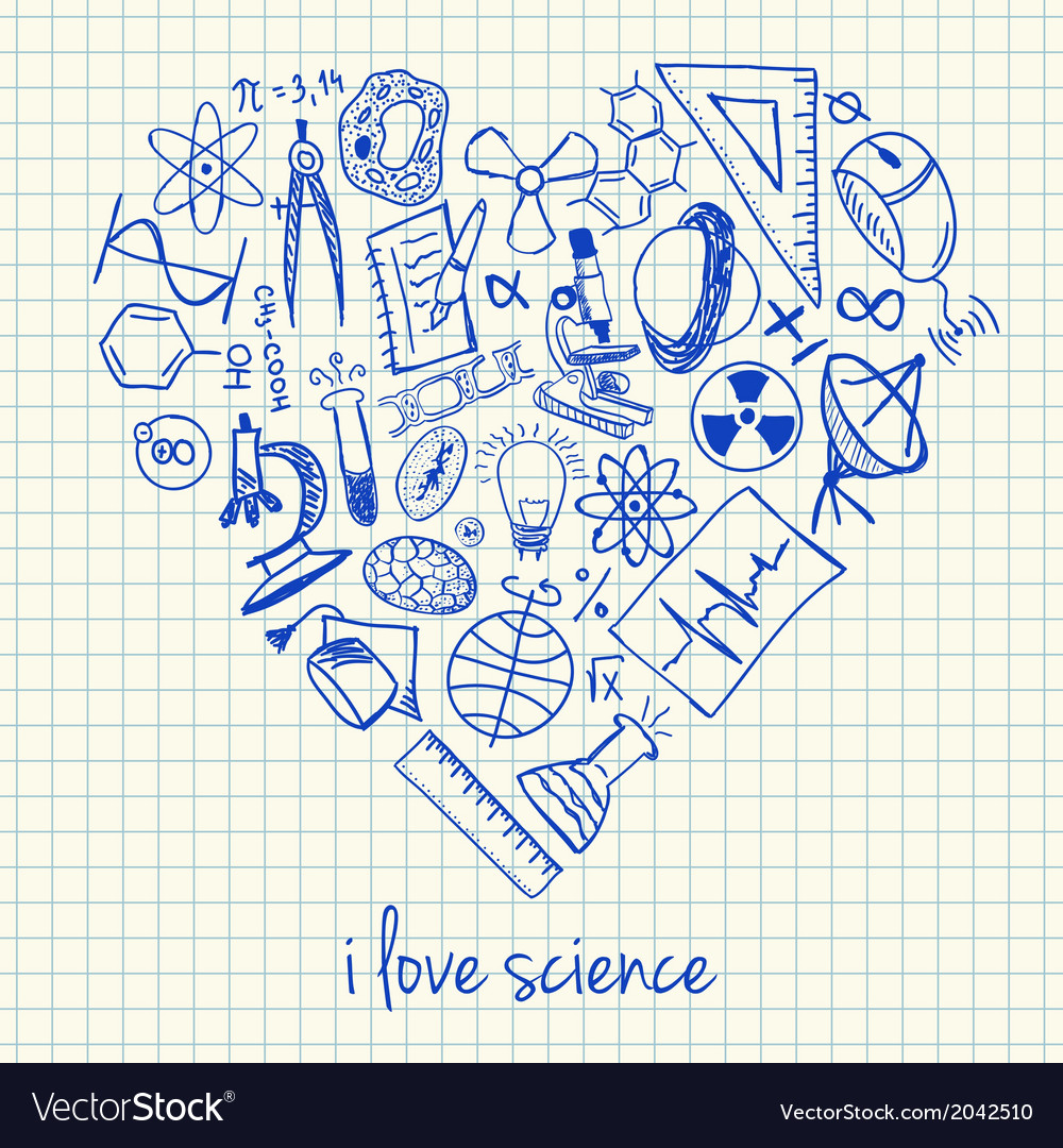 Download I love science doodles in heart Royalty Free Vector Image