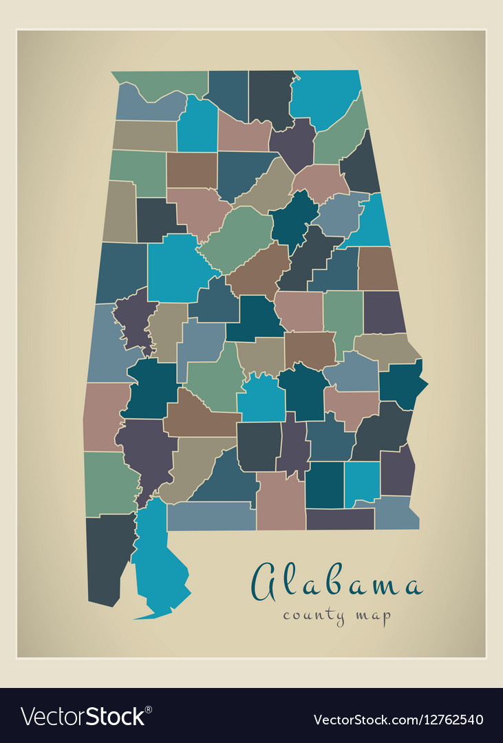 Alabama county map coloured Royalty Free Vector Image Alabama county map coloured vector image