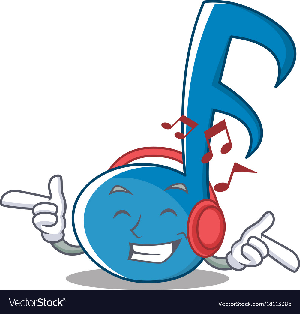 Listening music note character cartoon Royalty Free Vector