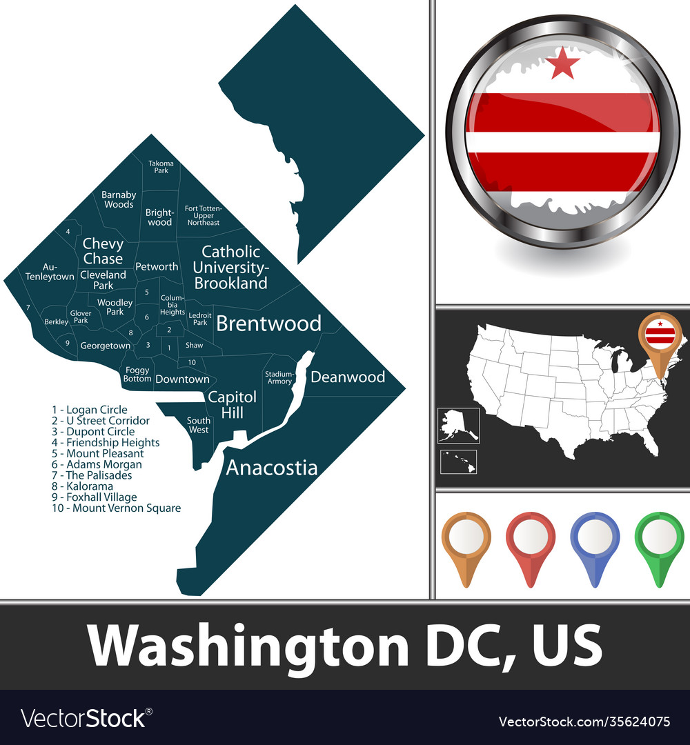 Jetblue will drop two more destinations from washington's reagan national airport as it increasingly focuses on flying to its core markets. Map Washington Dc Us Royalty Free Vector Image